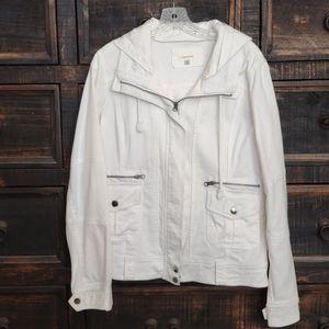 Ladie's White Hooded Denim Jacket